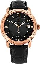 Alexander Heroic Macedon Wrist Watch for Men - Black Dial Date Analog Swiss Watch - Stainless Steel Plated Rose Gold Watch - Mens Designer Watch A111-05