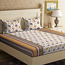 Rangeela Rajasthan Traditional Rajasthani Cotton Double Bedsheet with 2 Pillow Covers - Orange.
