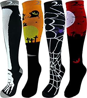 4 Pair Small/Medium Extra Soft Premium Quality Colorful Moderate Graduated Compression Socks 15-20 mmHg. Nurses, Running, Travel, Knee-High, Mens & Womens Comfort Blend. Halloween Dress Up Designs