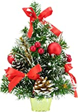 """30cm (12"""") Frosted Christmas Tree with Red Decorations and Pine Cones"""