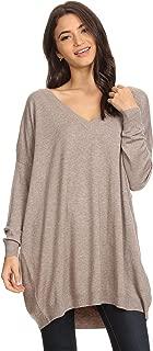 Alexander + David Womens Basic Oversized V-Neck Sweater Pullover Tunic Top