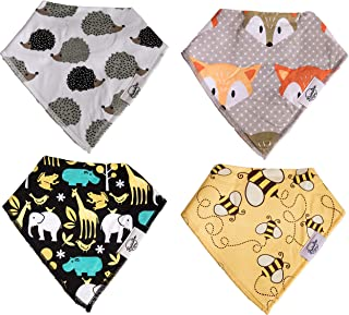 Unisex Baby Bandana Drool Bibs - 4 Pack Baby Bib Gift Set - for Drooling & Teething Babies – 100% Organic Cotton Soft & Absorbent - Hypoallergenic for Boys & Girls-by Brixton