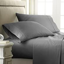 ienjoy Home Hotel Collection Embossed Checkered 4 Piece Sheet Set, Queen, Gray
