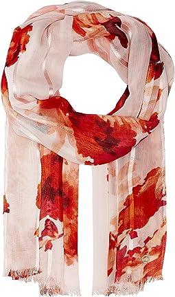 Calvin Klein - Floral Satin Stripe Scarf