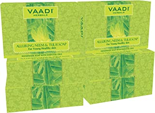 Neem Tulsi Bar Soap with Aloe Vera Extracts, Vitamin E and Tea Tree Oil - Handmade Herbal Soap with 100% Pure Essential Oi...