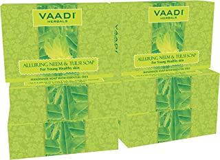 Neem Soap (Neem Tulsi Bar Soap) with Aloe Vera Extracts, Vitamin E and Tea Tree Oil - Handmade Herbal Soap (Aromatherapy) with 100% Pure Essential Oils - ALL Natural - Best Anti-aging Therapy - Each 2.65 Ounces - Pack of 6 (16 Ounces) - Vaadi Herbals