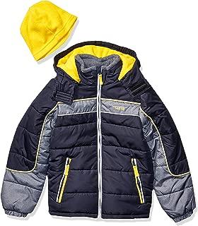 LONDON FOG Boys' Big Color Blocked Puffer Jacket Coat with Hat