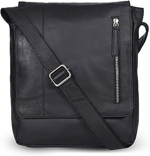 Amazon Brand - Eono Schultertasche für Männer und Frauen - Umhängetasche aus braunem Leder für Tablets (Black Nappa)