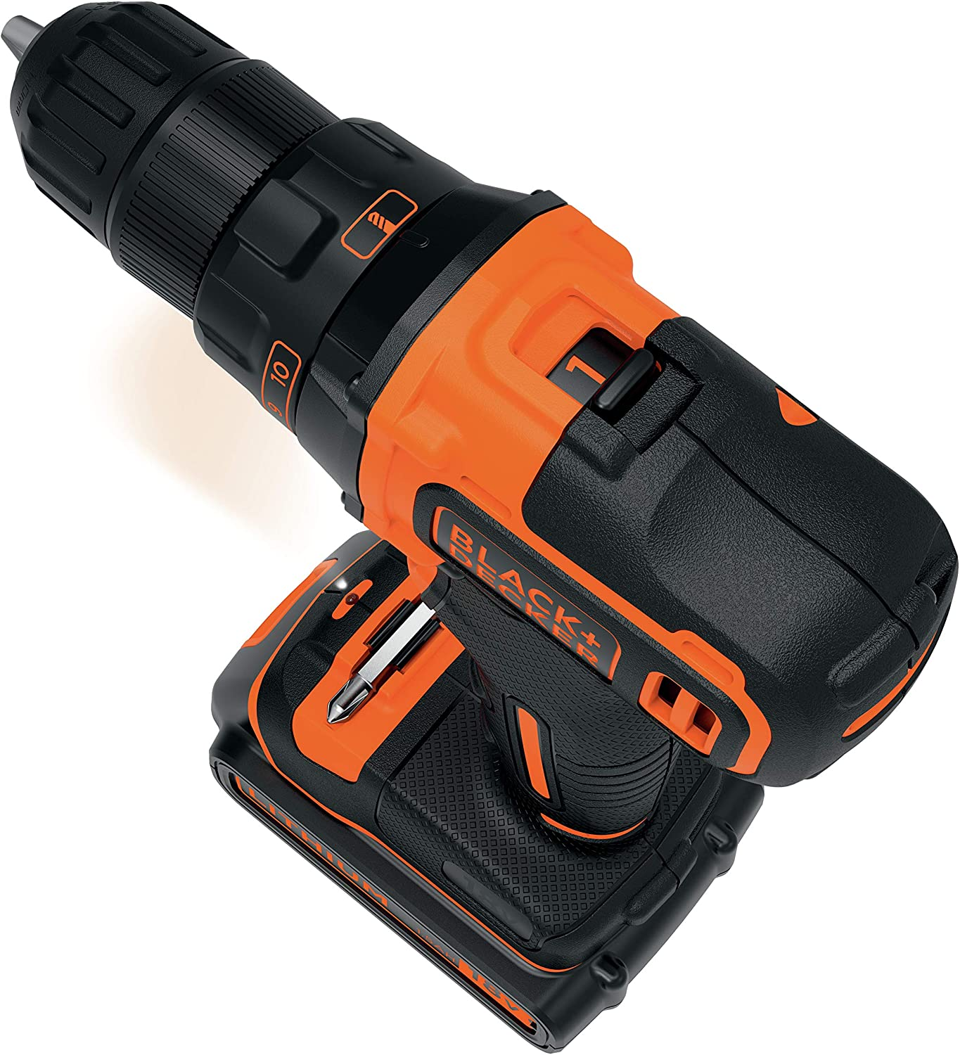 Black+Decker BDCDD186K Cordless Drill with 2-Speed Transmission 18 V, 1.5 Ah, Includes 400 mA Charger in Case, with Double Bit, LED Work Light, Keyless Chuck, Non-Slip Handle
