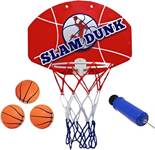 "Slam Dunk Mini Basketball Hoop Set - Over The Door Plastic Toy Backboard 14 X 10"" w/ Net, 3 Balls & Ball Pump. Simple Assembly, Hanger Mount Game for Kids Children or Adults"