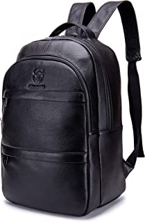 Genuine Leather Backpack 15inch Super-Large Capacity Business Cowhide Leather Laptop Computer Bag