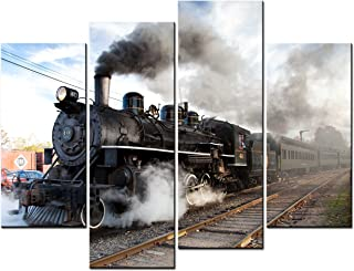 SmartWallArt - Vehicle Paintings Wall Art an Old Steam Train Travels Under Blue Sky 4 Panel Picture Print on Canvas for Modern Home Decoration