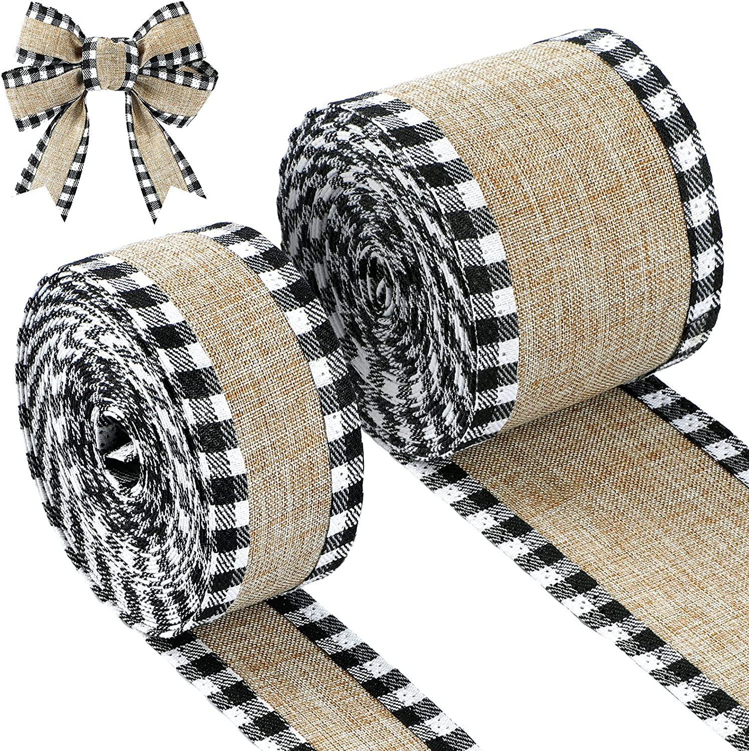 2 Rolls Buffalo Plaid Wired Edge Ribbons Christmas Burlap Fabric Craft Ribbon Natural Wrapping Ribbon Rolls with Checkered Edge (Black and White, 1.5 x 216 Inch, 2.5 x 216 Inch) : Arts, Crafts & Sewing
