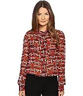 Just Cavalli - Sonya Print Bow Blouse w/ Chest Pockets