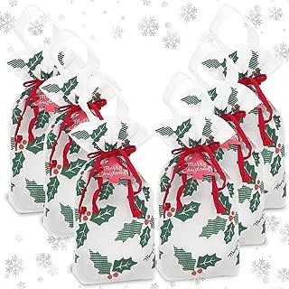 Christmas Gift Bags - Set of 6 Drawstring Gift Bags | Christmas Bags with Christmas Gift Tags | Holiday Gift Bags Treat Bag Goodie Bag | Gift Bags for Christmas Gifts | Reusable Bag, Small Gift Bags