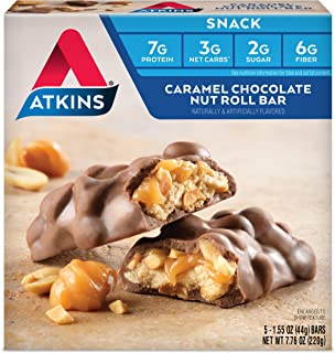 Atkins Snack Bar, Caramel Chocolate Nut Roll, Keto Friendly, 5 Count