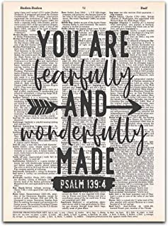 You are Fearfully and Wonderfully Made, Psalm139:4, Christian Wall Art on a Vintage Dictionary Page
