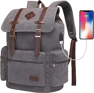 Modoker Vintage Rucksack Backpack for Men Women 17 Inch, Laptop Backpack - School, Travel, or Work Bookbag Fits Computer &...