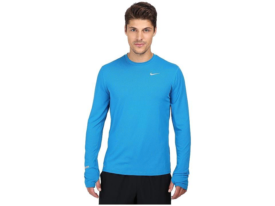 Nike Dri-FITtm Contour L/S Running Shirt (Imperial Blue/Reflective Silver) Men