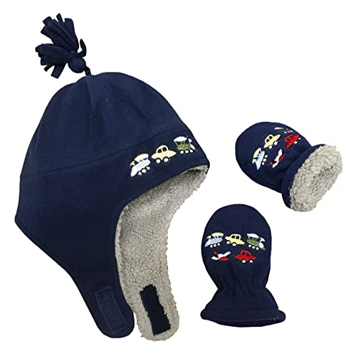 9142bb9813f N Ice Caps Little Boys and Baby Sherpa Lined Fleece Embroidered Hat Mitten  Set