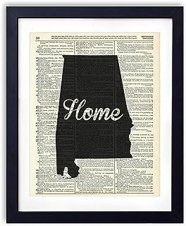 Alabama Home Script Upcycled Vintage Dictionary Art Print 8×10