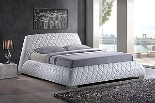 Baxton Studio Wholesale Interiors Chanelle Faux Leather Platform Bed, Queen, White