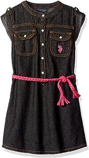 Girls' Sandblast Denim Belted Dress