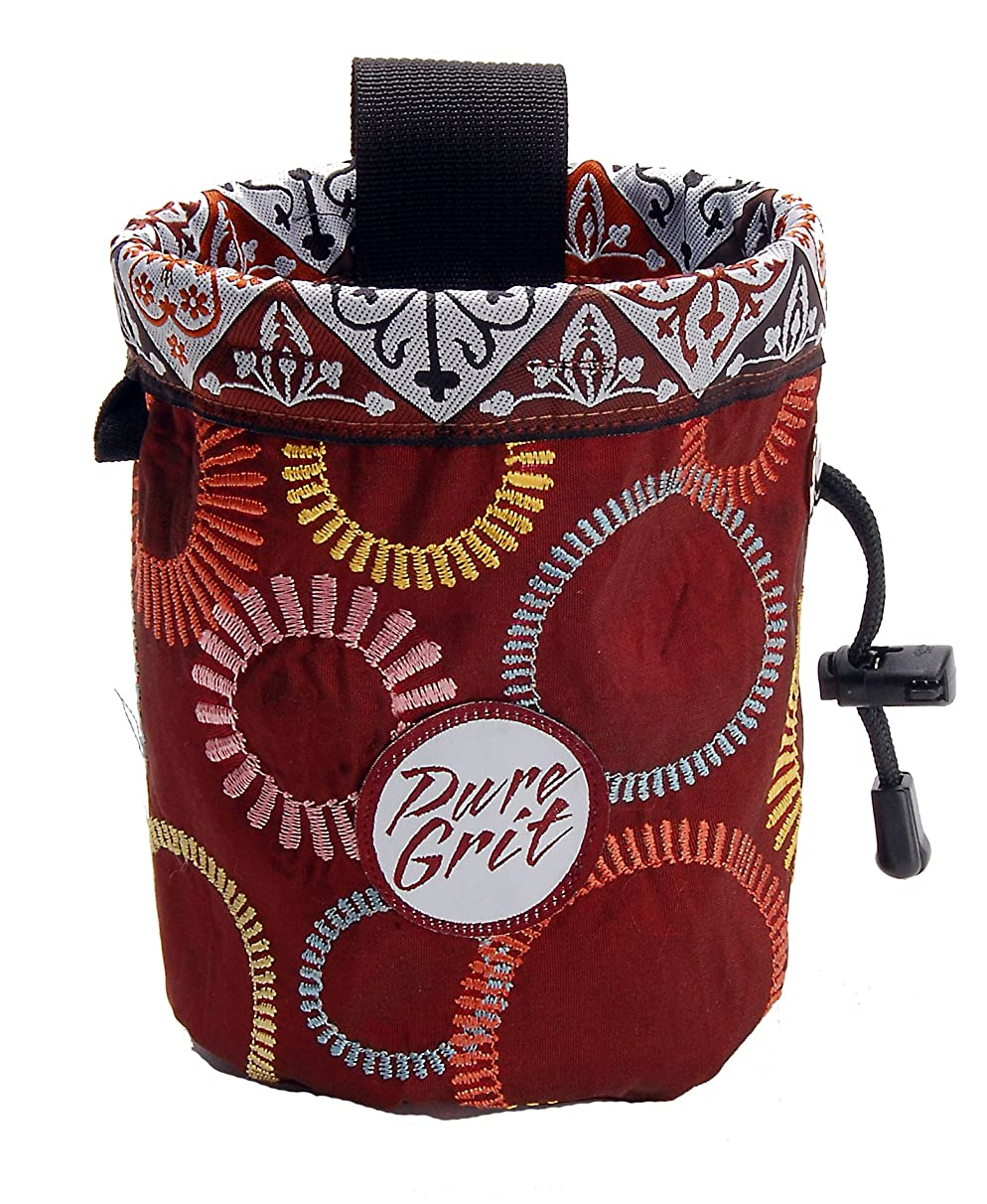 Pure Grit Burgundy Wheels 2 Chalk Bag (USA made) with Belt