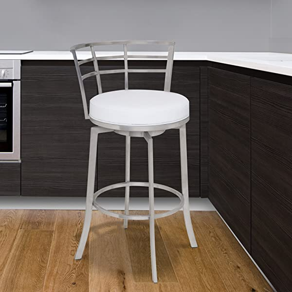 Armen Living LCVI26BAWH Viper 26 Counter Height Swivel Barstool In White Faux Leather And Brushed Stainless Steel Finish