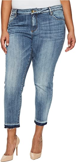 KUT from the Kloth - Plus Size Reese Ankle Straight Leg in Motive/Medium Base Wash