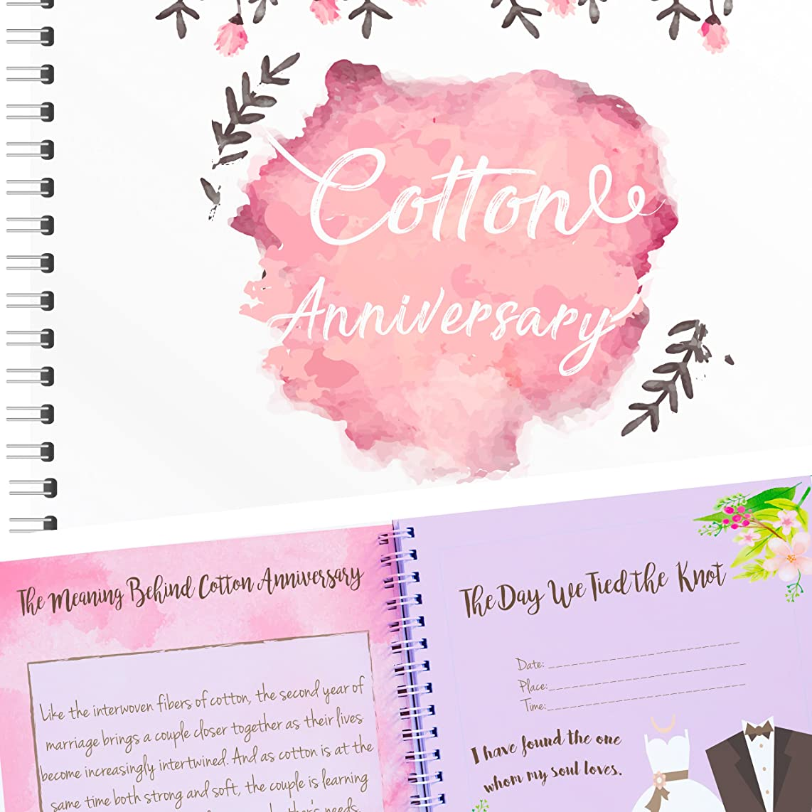 Unique 2nd Wedding Anniversary Memory Book with Stickers and A Matching Card - 5-Second Memory Journal For Your Special Cotton Anniversary - The Perfect Keepsake Booklet for Special Memories