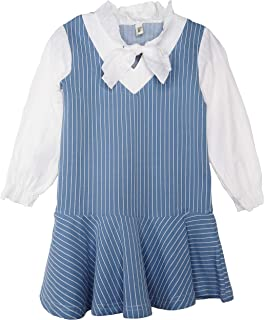 ContiKids Toddler Girls Clothes Long Sleeve Cotton Dresses School Skater Casual Tulle Print Collar Dress