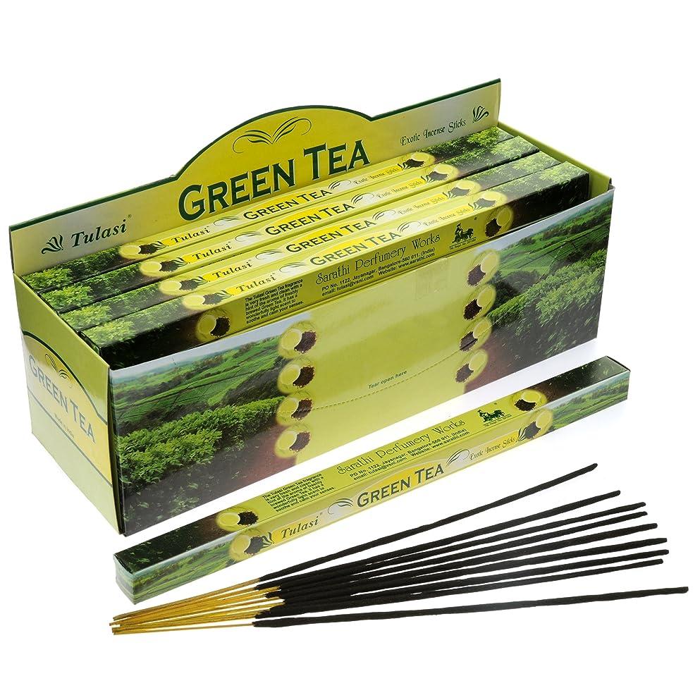 ダイバー回想ステープルTulasi Green Tea Incense, 8 Sticks x 25 Packs