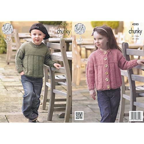 849801998 King Cole Magnum Chunky Knitting Pattern Childrens Ribbed Detail Sweater    Cardigan (4285)