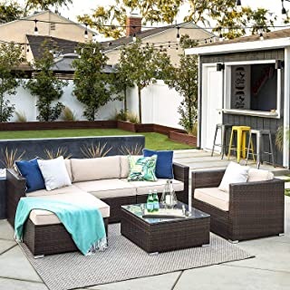 OAKVILLE FURNITURE 61106 6-Piece Made in USA Outdoor Patio Furniture Rattan Sectional Sofa Conversation Set Brown Wicker, Beige Cushion