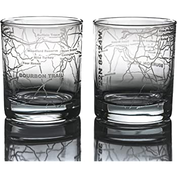 Greenline Goods Whiskey Glasses - Bourbon Trail Kentucky Whisky (Set of 2) - Etched 10 oz Tumbler Gift with Bourbon Trail Map | Old Fashioned Rocks Glass