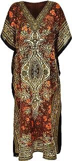 فستان Loire Couture النسائي الجديد طويل مطبوع بالقفطان مع ربطة خصر