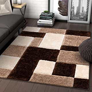 Well Woven Ella Brown Geometric Boxes Thick Soft Plush 3D Textured Shag Area Rug 5x7 (5'3