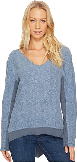 Dylan by True Grit - Brushed Back Vintage Fleece Fuzzy Face V-Neck Top with Rib Trim