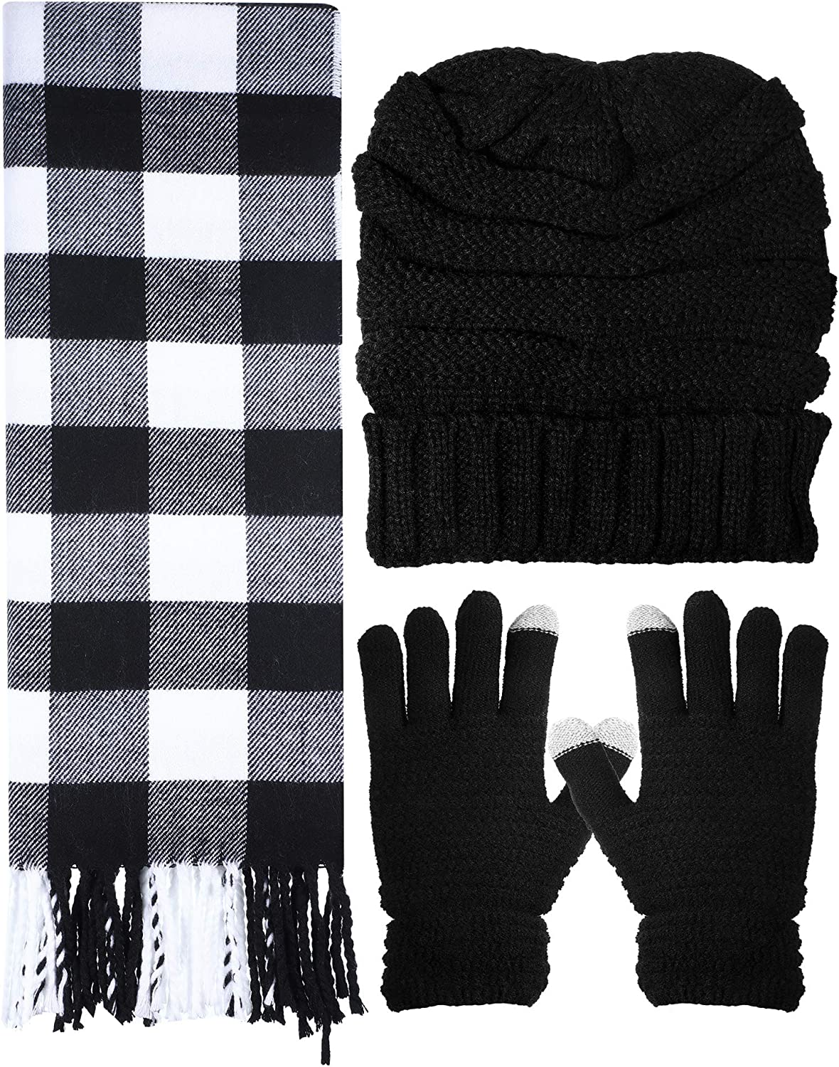 Christmas Winter Warm Set Knitted Beanie Hat Gloves and Soft Scarf for Women Men, 3 Pieces
