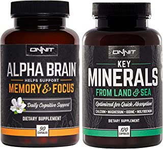 ONNIT Nootropic + Wellness Stack - Alpha Brain (90ct) + Key Minerals (120ct)