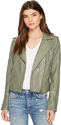 Vegan Leather Moto Jacket in Matcha