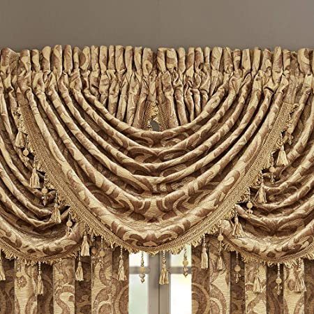 J Queen New York Crystal Palace Waterfall Valance 49 W x 33 L French Blue