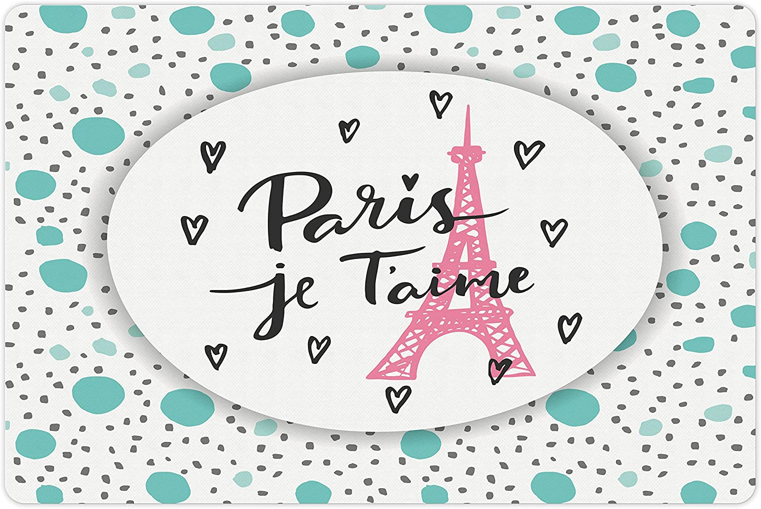 Lunarable Paris Pet Mat for Food You Love and Water High quality new Outstanding I Lettering