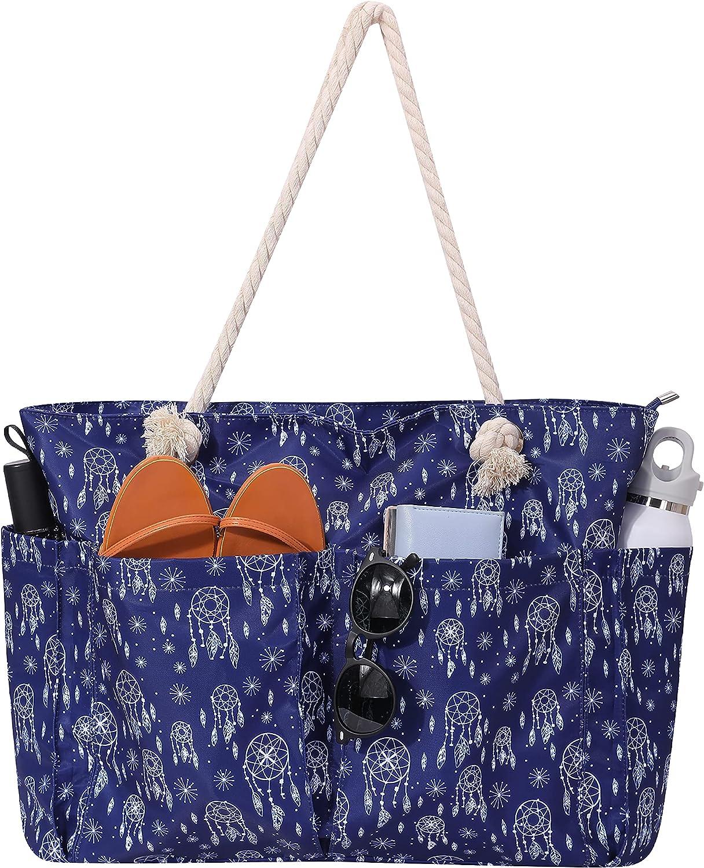 Al sold out. Large Beach Regular discount Tote and Pool Sandproof Women Bag Zipper Waterproof