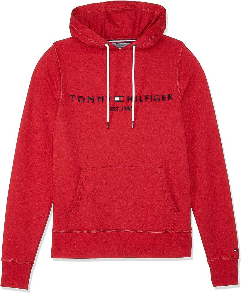 Tommy hilfiger logo hoody, felpa con cappuccio per uomo,72% cotone, 28% poliestere MW0MW07609
