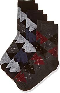 Amazon Brand - Symbol Men's Checkered Calf Socks (Combo Pack of 3)