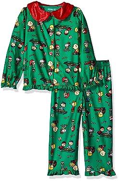 Peanuts Girls' Toddler Holiday Sleepwear Coat Set