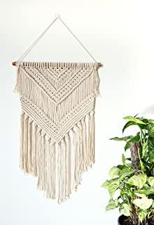 Day & Robin Macrame Hanging Wall Boho Tapestry | Light, Wide, Cotton, Dyed and Woven Wall Art Decor for Home, Bedroom or Door