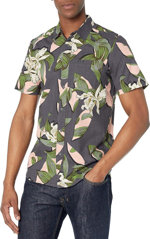 Volcom Men's Cut Out Floral Short Sleeve Woven Shirt
